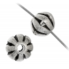 Metalized Fluted Rondelle (Flat Round) 7X8mm Antique Silver